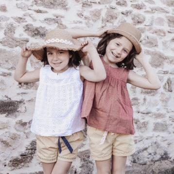 Blouses Lombarde version sans manche et shorts Aura cousus pour l'été