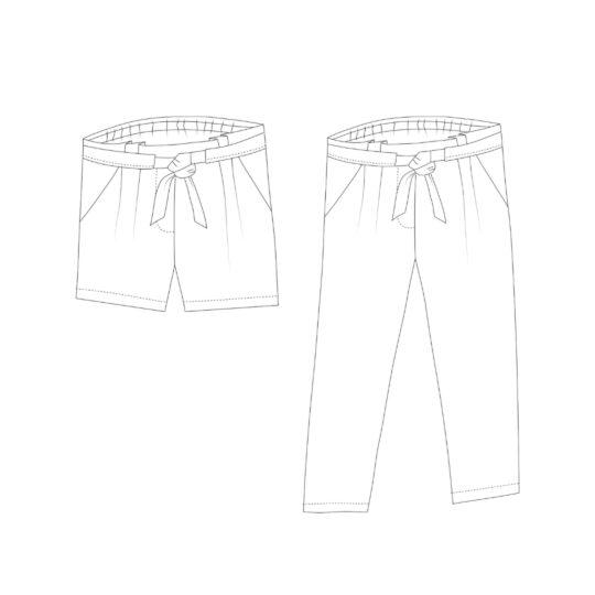 dessins techniques du short/pantalon Aura